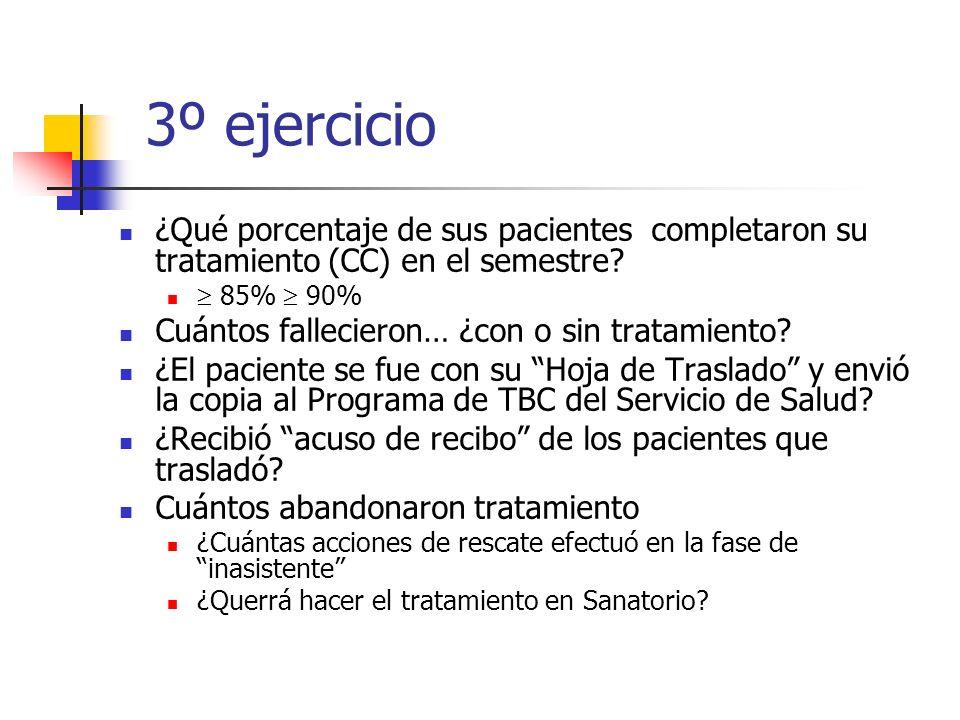 3º ejercicio ¿Qué porcentaje de sus pacientes completaron su tratamiento (CC) en el semestre  85%  90%