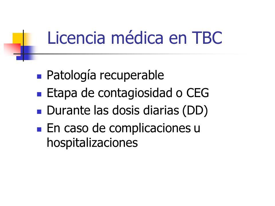 Licencia médica en TBC Patología recuperable