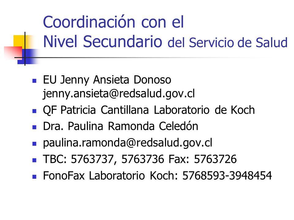 Coordinación con el Nivel Secundario del Servicio de Salud