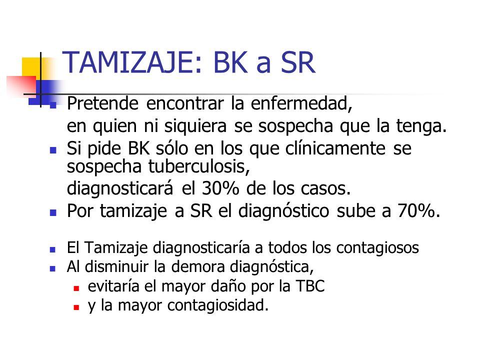 TAMIZAJE: BK a SR Pretende encontrar la enfermedad,