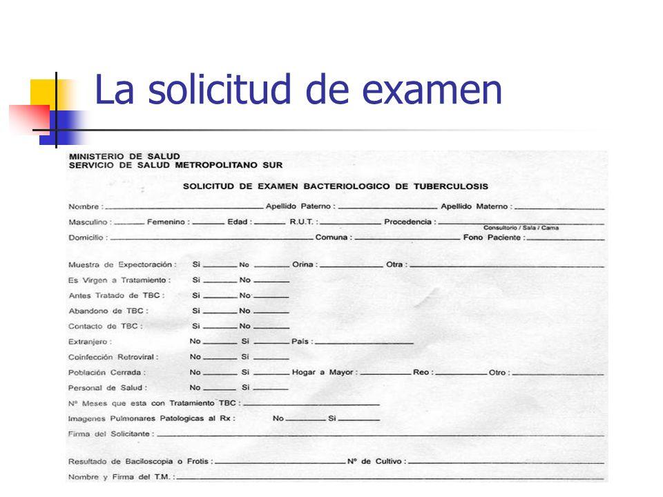 La solicitud de examen