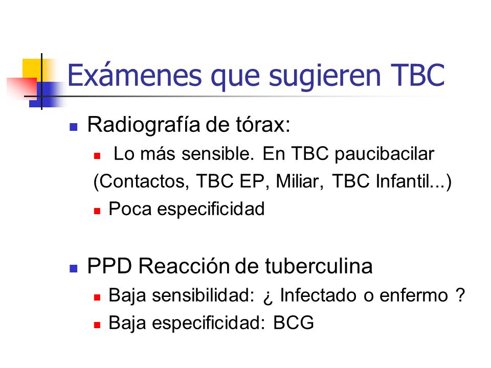 Exámenes que sugieren TBC