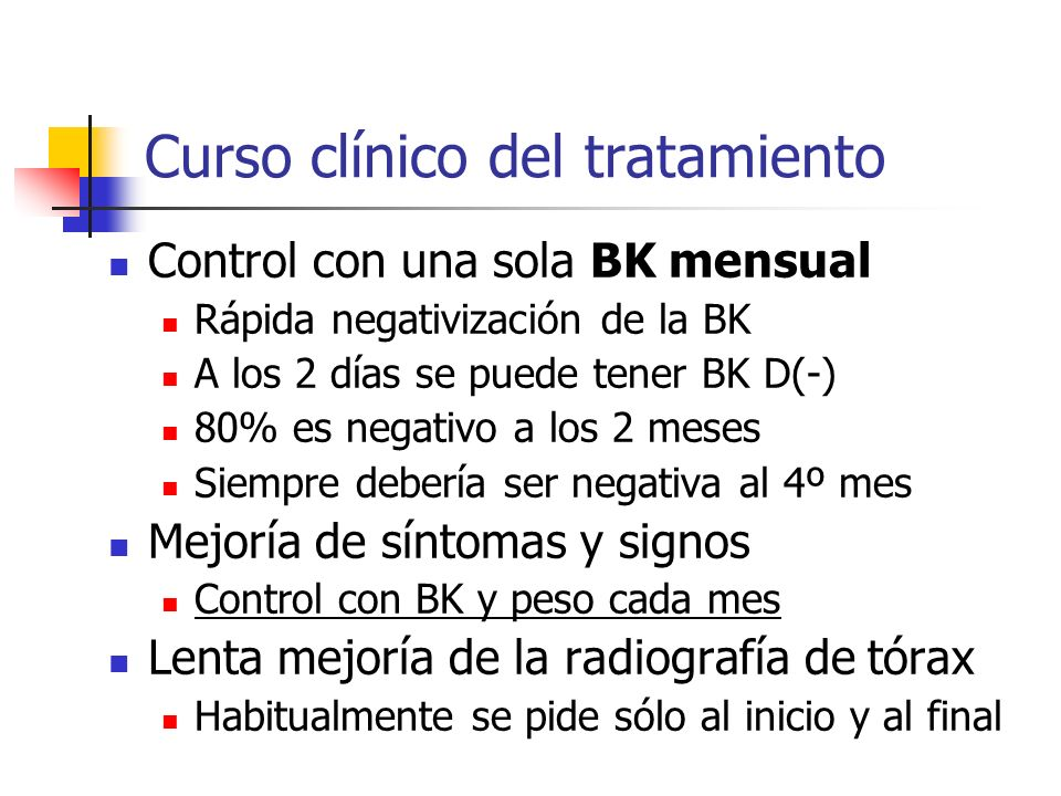 Curso clínico del tratamiento