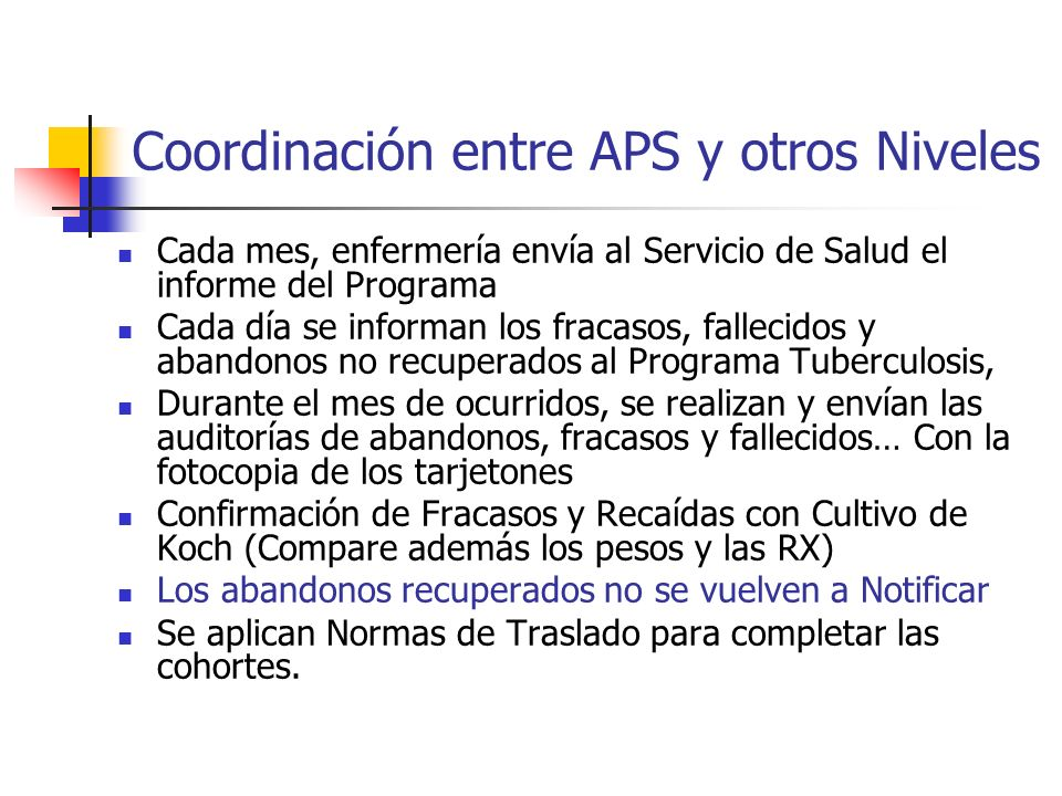 Coordinación entre APS y otros Niveles