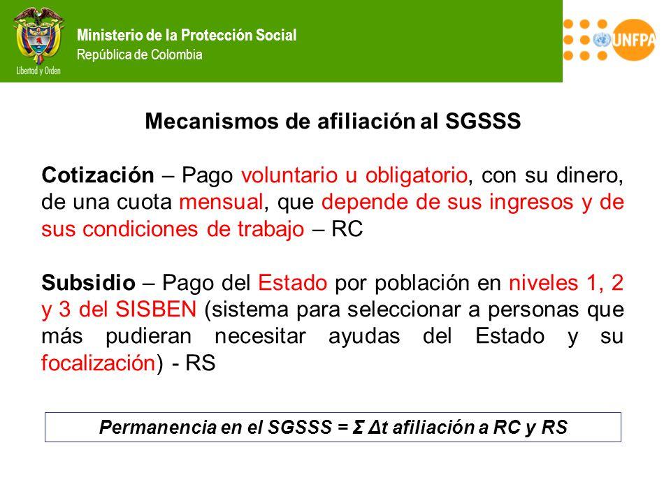 Permanencia en el SGSSS = Σ Δt afiliación a RC y RS