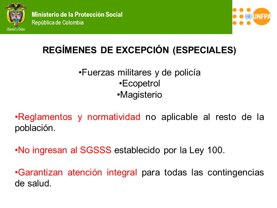 REGÍMENES DE EXCEPCIÓN (ESPECIALES)