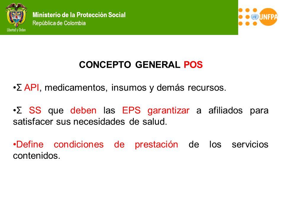 CONCEPTO GENERAL POS Σ API, medicamentos, insumos y demás recursos.