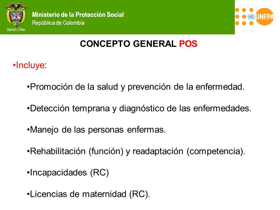 CONCEPTO GENERAL POS Incluye: Promoción de la salud y prevención de la enfermedad. Detección temprana y diagnóstico de las enfermedades.