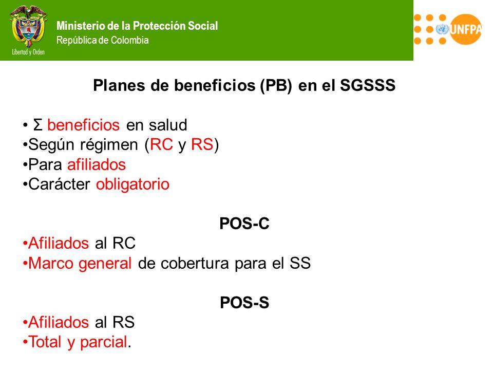 Planes de beneficios (PB) en el SGSSS
