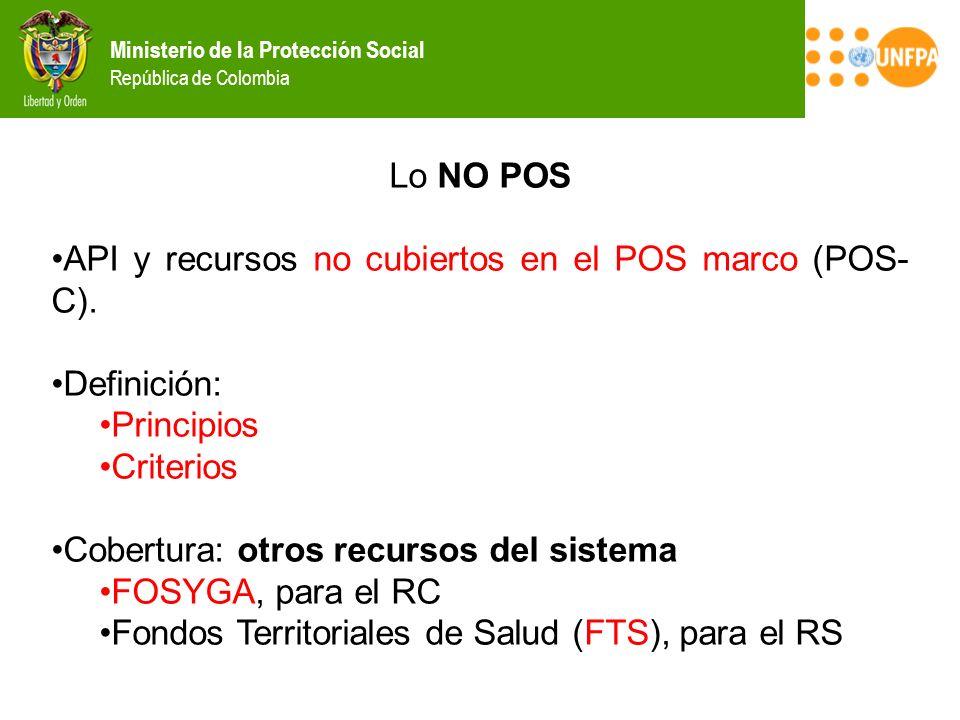 Lo NO POS API y recursos no cubiertos en el POS marco (POS-C). Definición: Principios. Criterios.