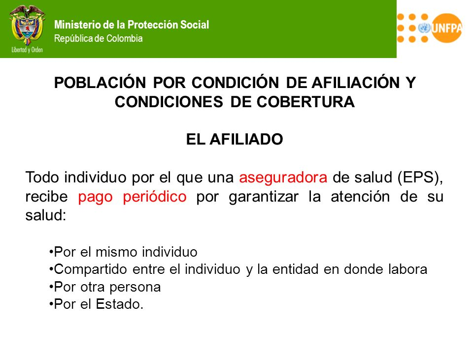 POBLACIÓN POR CONDICIÓN DE AFILIACIÓN Y CONDICIONES DE COBERTURA