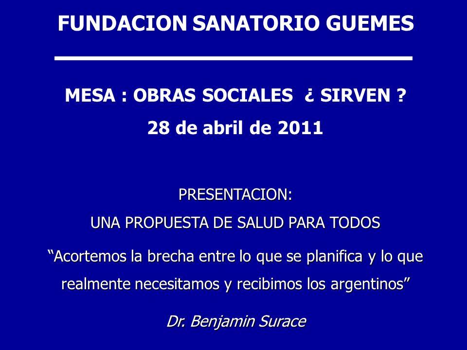 FUNDACION SANATORIO GUEMES MESA : OBRAS SOCIALES ¿ SIRVEN