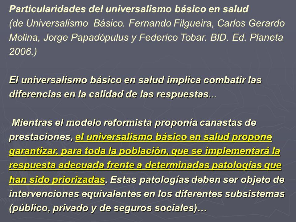 Particularidades del universalismo básico en salud