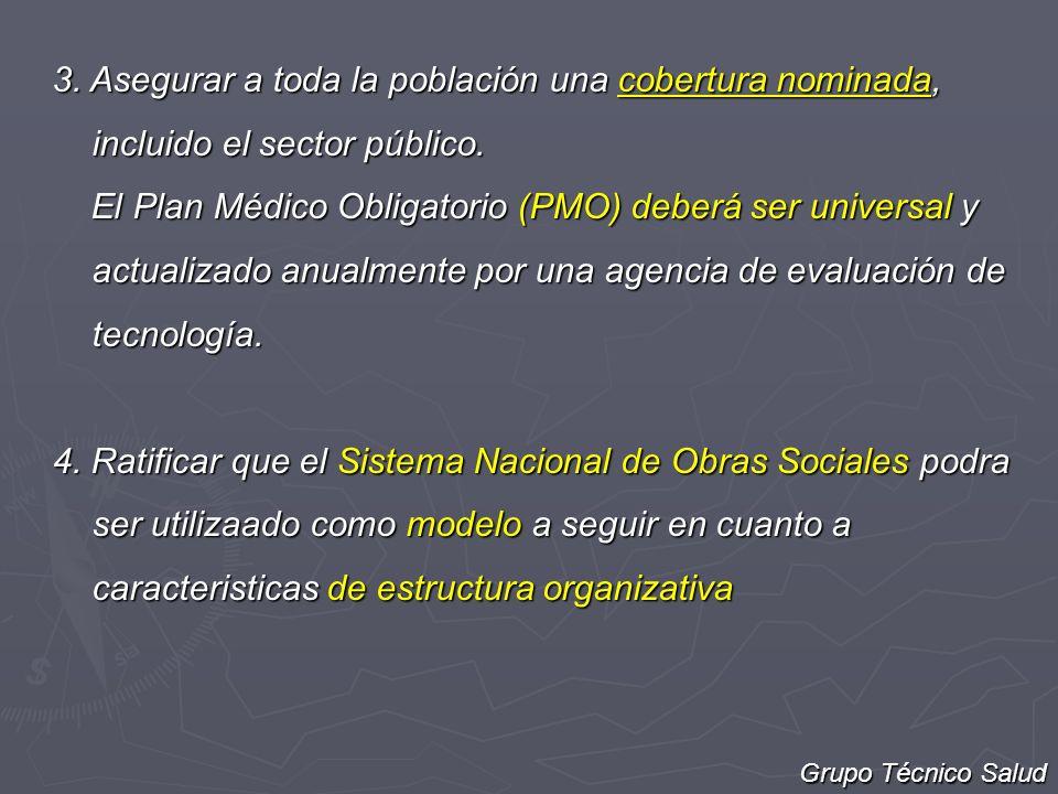 3. Asegurar a toda la población una cobertura nominada, incluido el sector público.