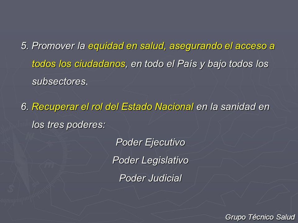 5. Promover la equidad en salud, asegurando el acceso a todos los ciudadanos, en todo el País y bajo todos los subsectores.
