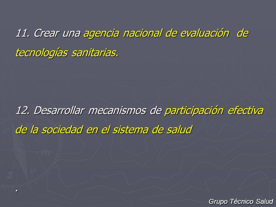 11. Crear una agencia nacional de evaluación de tecnologías sanitarias.
