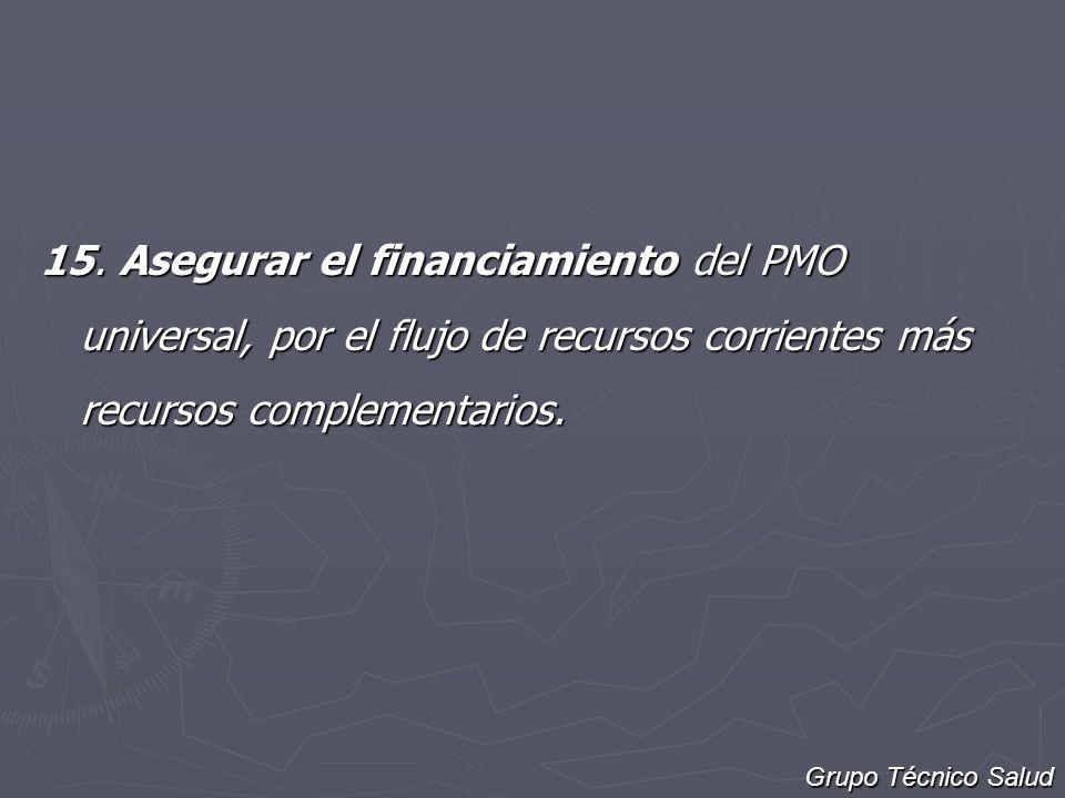 15. Asegurar el financiamiento del PMO universal, por el flujo de recursos corrientes más recursos complementarios.