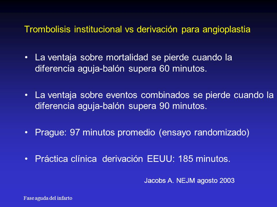 Trombolisis institucional vs derivación para angioplastia