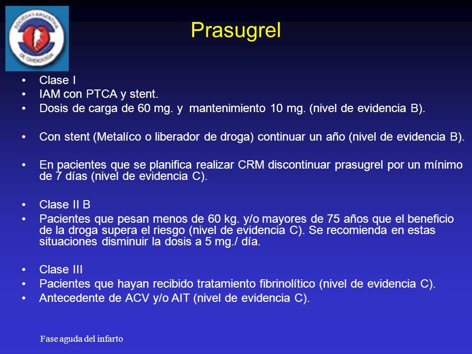 Prasugrel Clase I IAM con PTCA y stent.