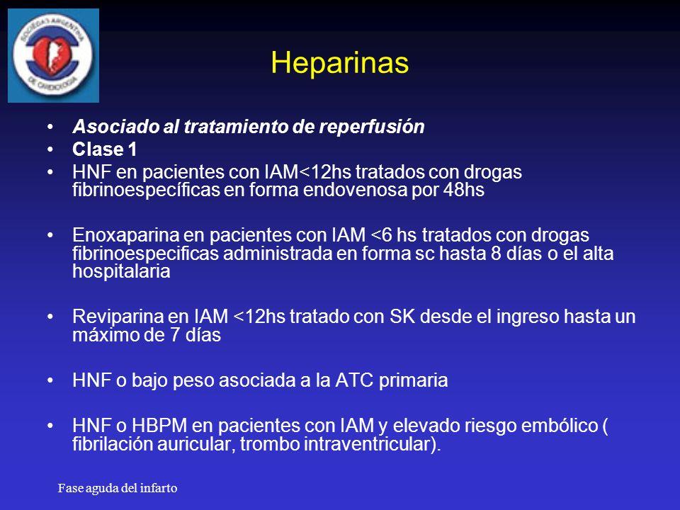 Heparinas Asociado al tratamiento de reperfusión Clase 1