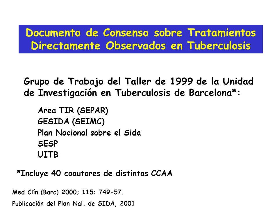 Grupo de Trabajo del Taller de 1999 de la Unidad de Investigación en Tuberculosis de Barcelona*: