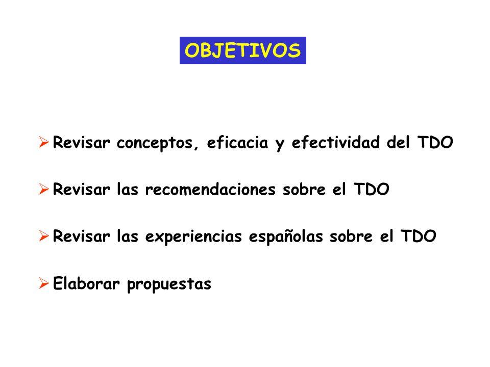 OBJETIVOS Revisar conceptos, eficacia y efectividad del TDO