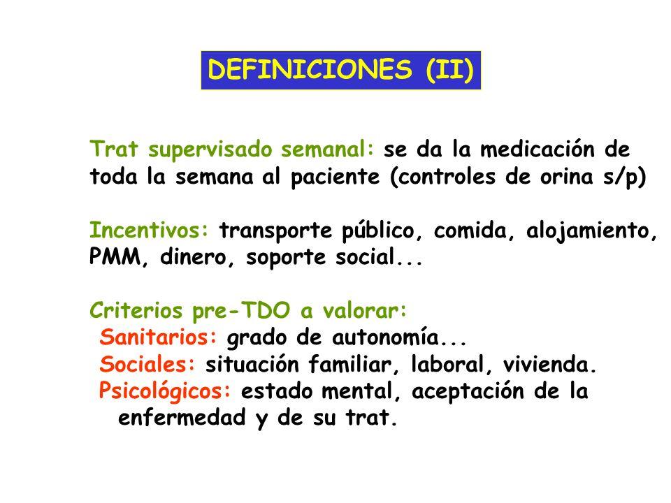 DEFINICIONES (II) Trat supervisado semanal: se da la medicación de