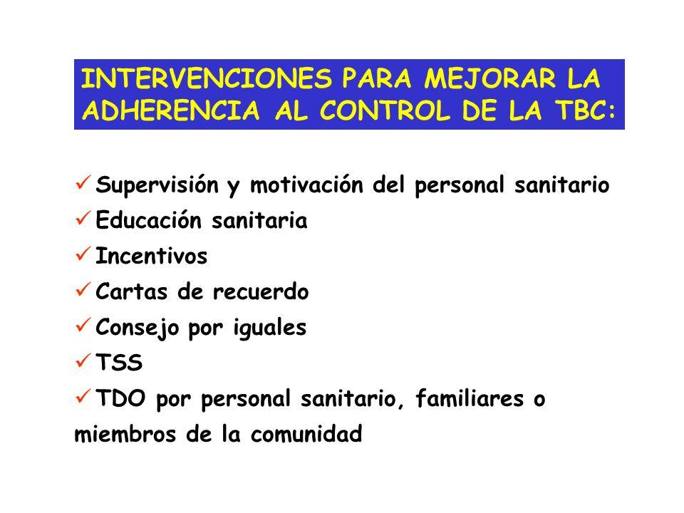 INTERVENCIONES PARA MEJORAR LA ADHERENCIA AL CONTROL DE LA TBC: