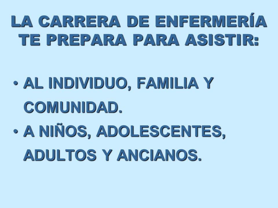 LA CARRERA DE ENFERMERÍA TE PREPARA PARA ASISTIR: