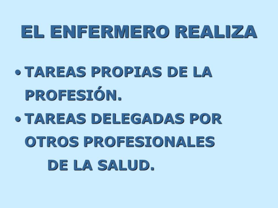 EL ENFERMERO REALIZA TAREAS PROPIAS DE LA PROFESIÓN.