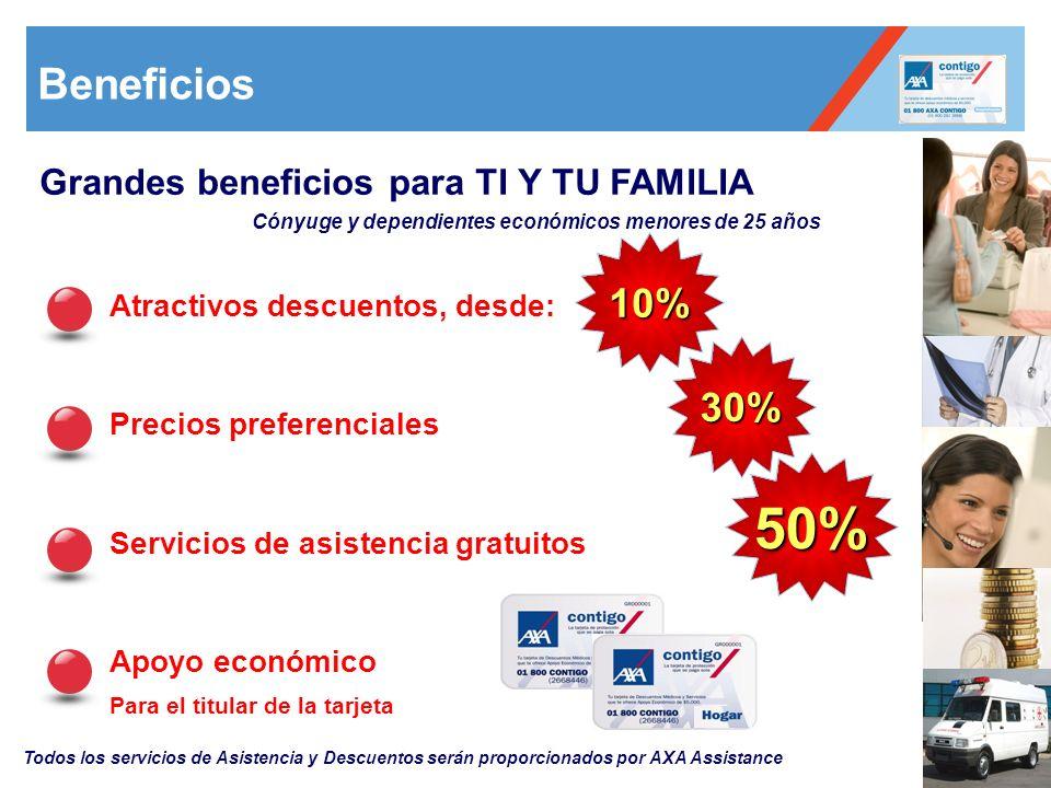 50% Beneficios 10% 30% Grandes beneficios para TI Y TU FAMILIA