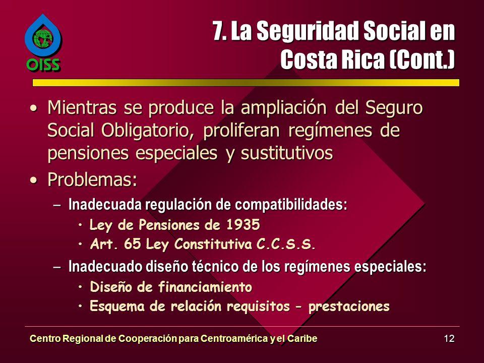 7. La Seguridad Social en Costa Rica (Cont.)