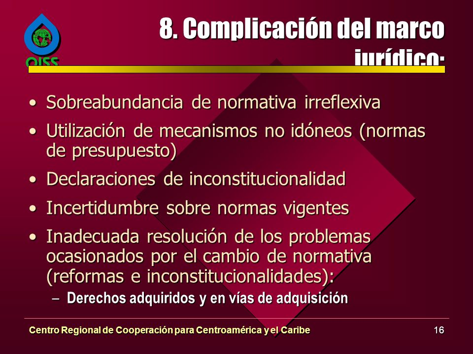 8. Complicación del marco jurídico: