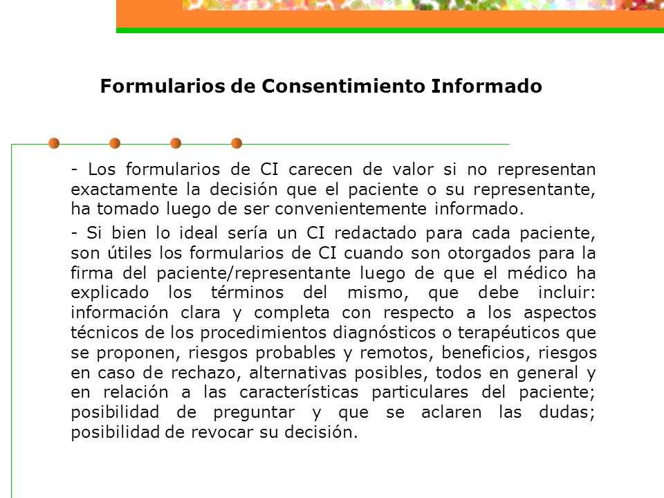 Formularios de Consentimiento Informado