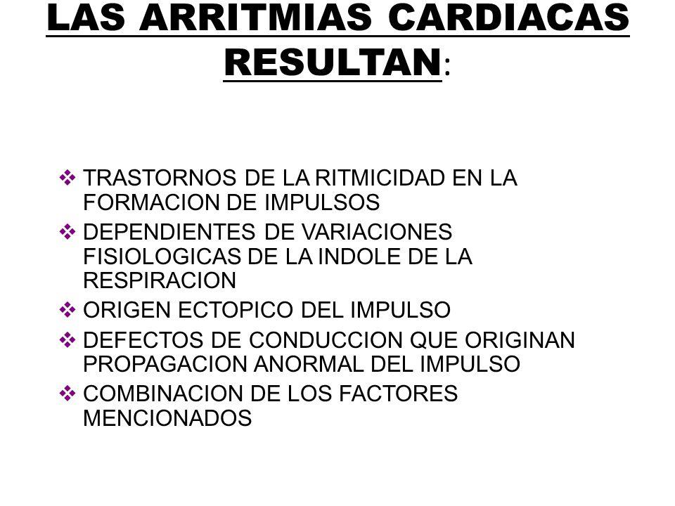 LAS ARRITMIAS CARDIACAS RESULTAN: