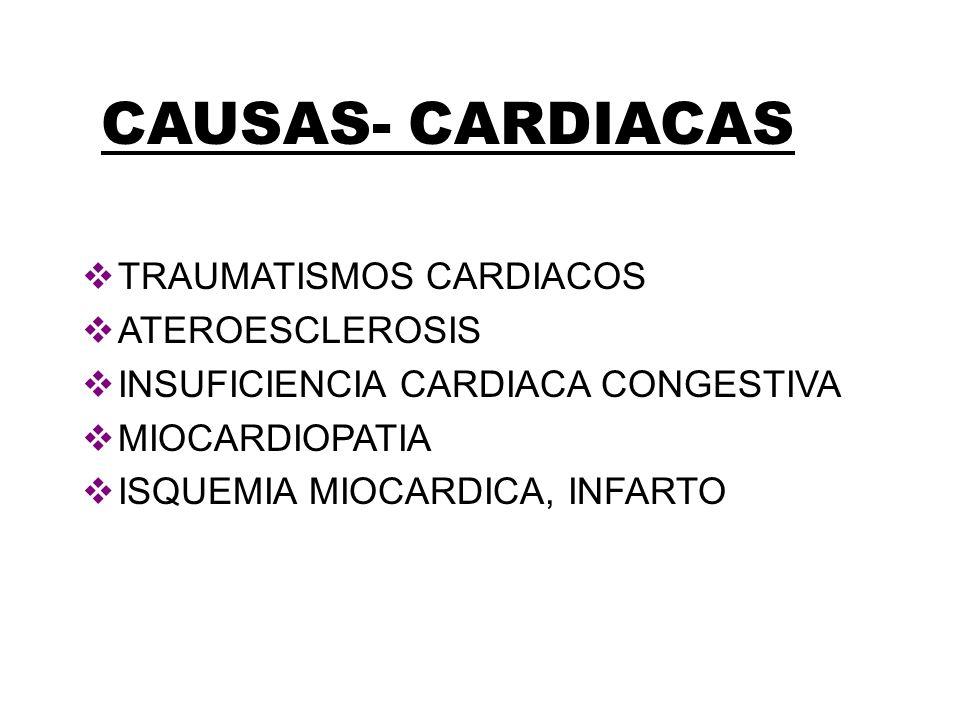 CAUSAS- CARDIACAS TRAUMATISMOS CARDIACOS ATEROESCLEROSIS