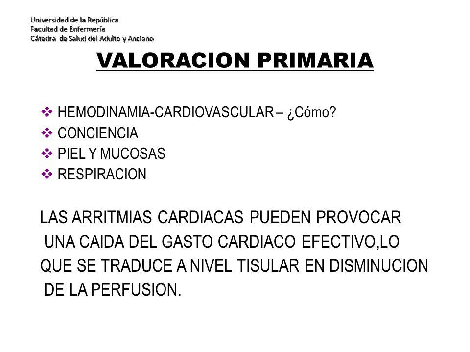 VALORACION PRIMARIA LAS ARRITMIAS CARDIACAS PUEDEN PROVOCAR