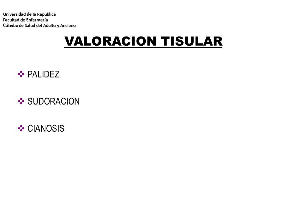 VALORACION TISULAR PALIDEZ SUDORACION CIANOSIS