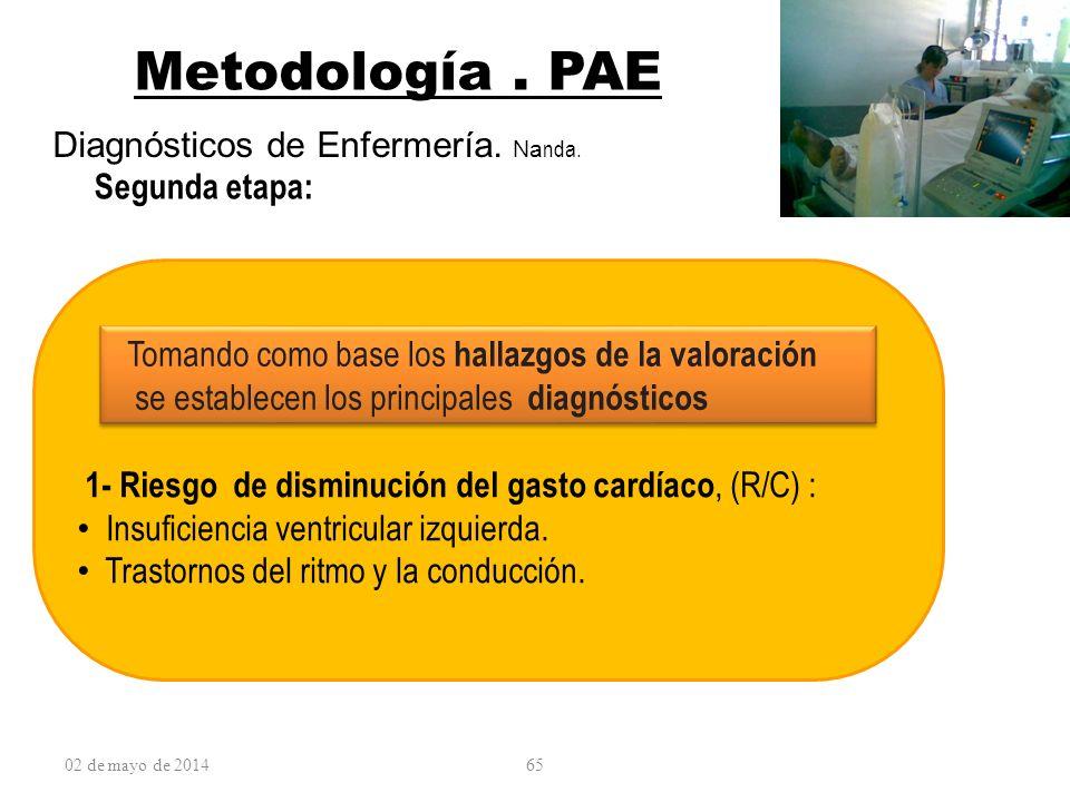 Metodología . PAE Diagnósticos de Enfermería. Nanda. Segunda etapa: