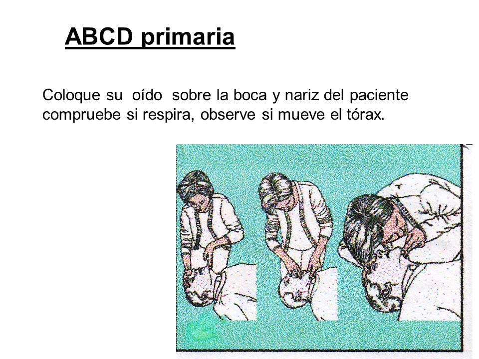ABCD primaria Coloque su oído sobre la boca y nariz del paciente compruebe si respira, observe si mueve el tórax.