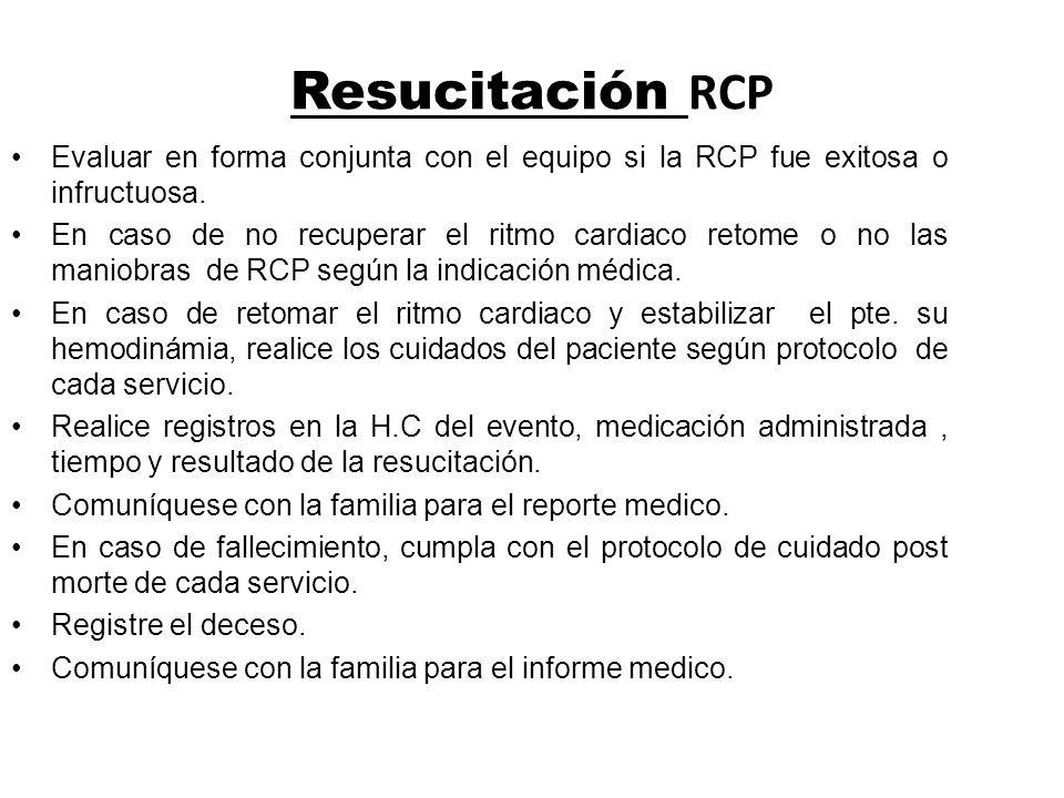 Resucitación RCP Evaluar en forma conjunta con el equipo si la RCP fue exitosa o infructuosa.