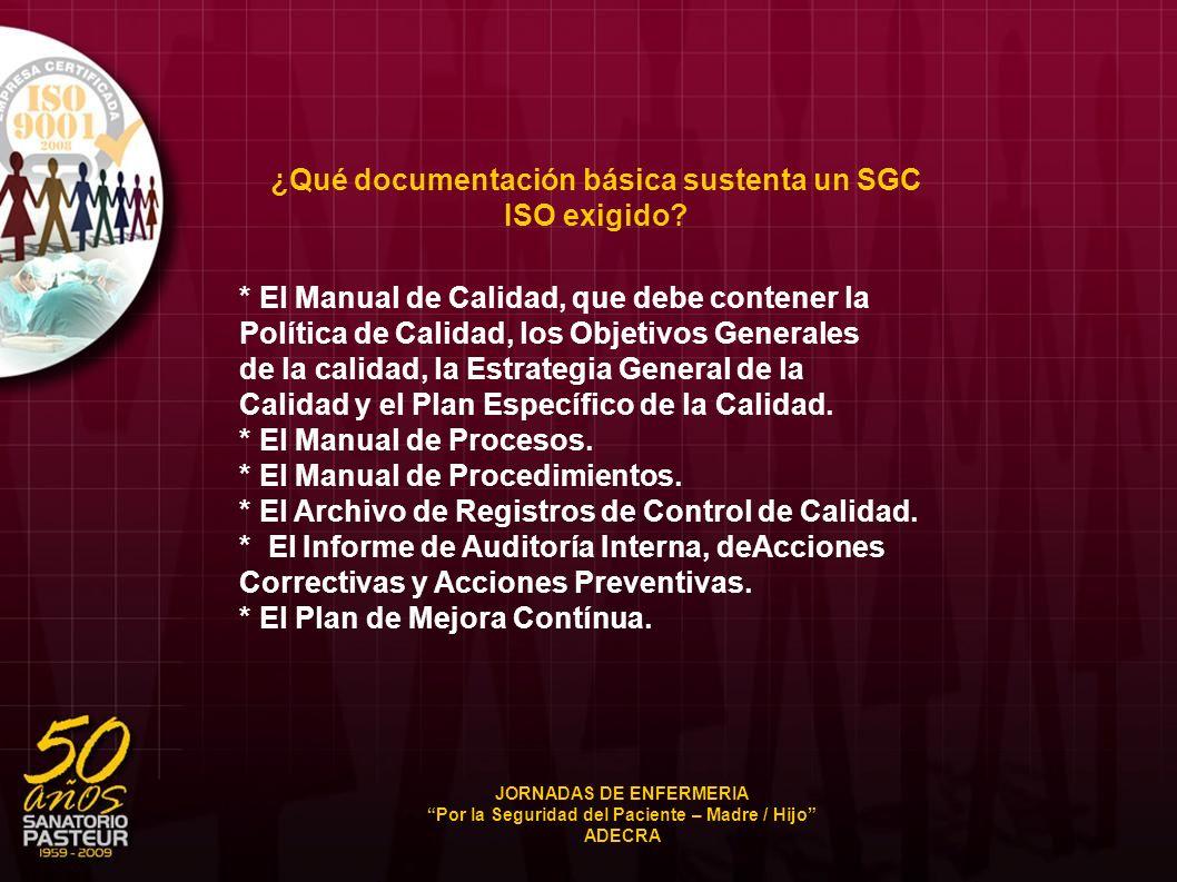 ¿Qué documentación básica sustenta un SGC ISO exigido
