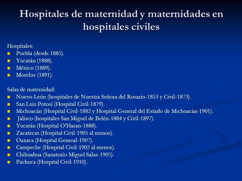 Hospitales de maternidad y maternidades en hospitales civiles