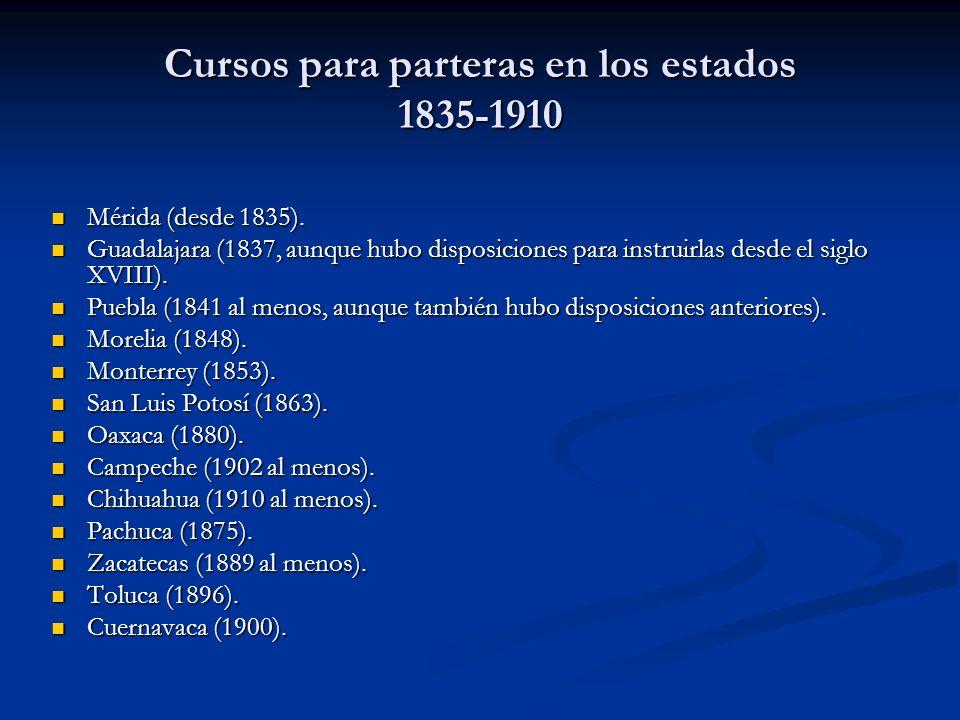 Cursos para parteras en los estados 1835-1910