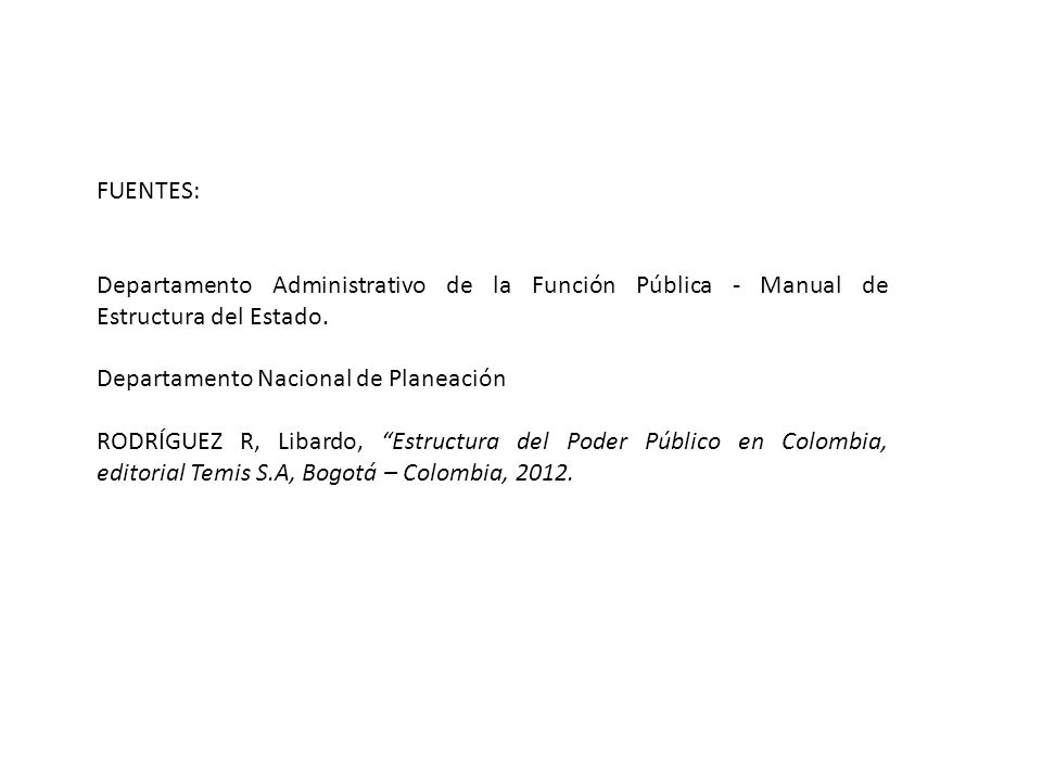 FUENTES: Departamento Administrativo de la Función Pública - Manual de Estructura del Estado. Departamento Nacional de Planeación.