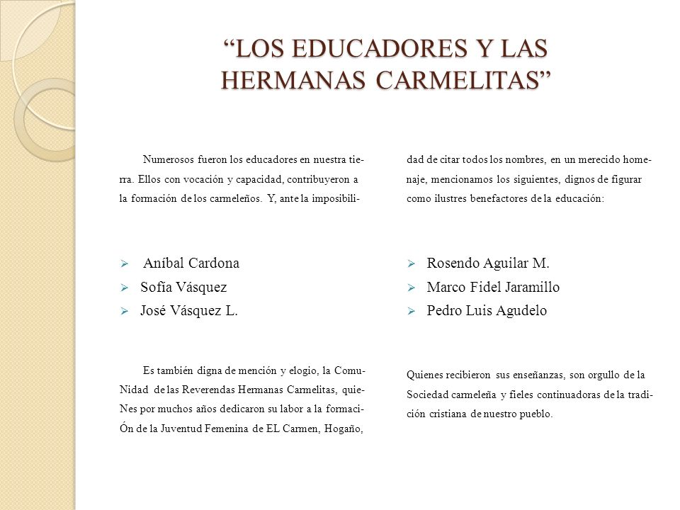 LOS EDUCADORES Y LAS HERMANAS CARMELITAS