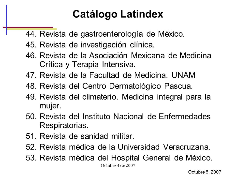 Catálogo Latindex Revista de gastroenterología de México.