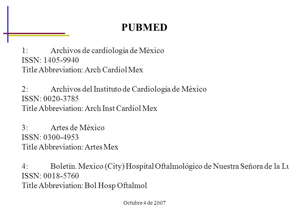 PUBMED 1: Archivos de cardiología de México ISSN: 1405-9940