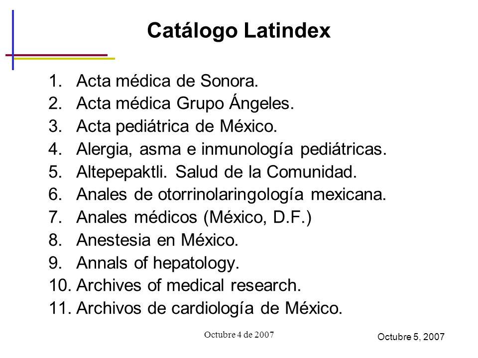 Catálogo Latindex Acta médica de Sonora. Acta médica Grupo Ángeles.