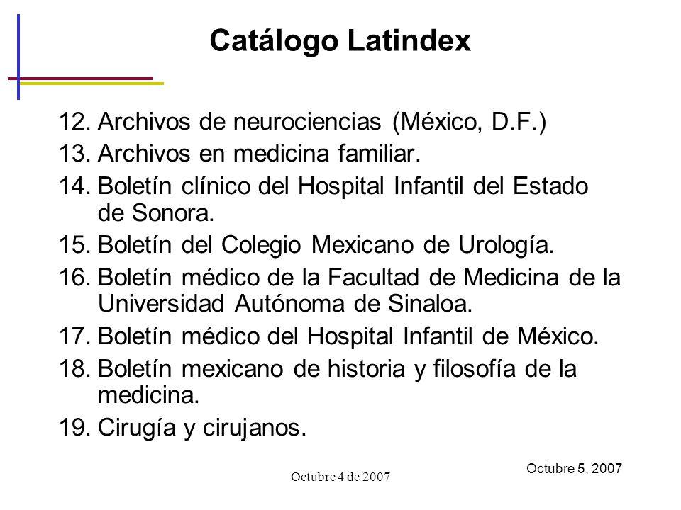 Catálogo Latindex Archivos de neurociencias (México, D.F.)